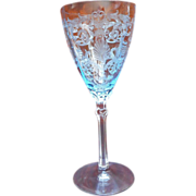 Fostoria Versailles Water Azure Blue Wine Stem Glass Goblet