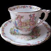 Rose Cottage Bell Bone China Cup 2 Saucer Vintage