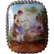 Czech Brooch Pin Brooch Porcelain China Vintage Courting Scene