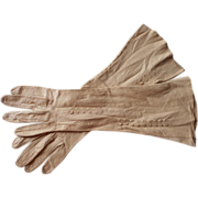 French Gloves Kid Leather Vintage Camel Color 7 Fancy Stitching
