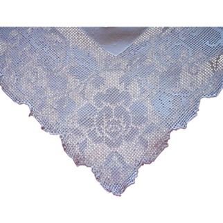 1920s Fine Linen Tablecloth Vintage Roses Square Mosaic Work