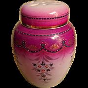 Potpourri Jar Antique China Magenta Hand Painted