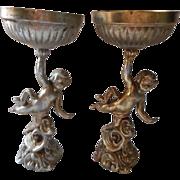 Cherubs Metal Figural Decor Unknown Use Vintage Cherub