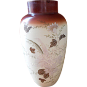 Victorian Vase Large Hand Painted EnameledAntique  Glass Butterflies Grasses Flowers