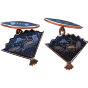 Cufflinks Damascene Ladies Vintage 24K Plate Fan Shape Japan