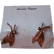 Copper Earrings Vintage Leaves On Original Card
