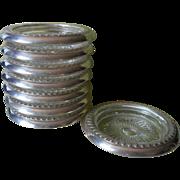Sterling Coasters Set 8 Vintage Glass Silver