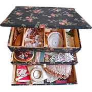 Chintz Covered Sewing Box Loaded Vintage Pink Contents