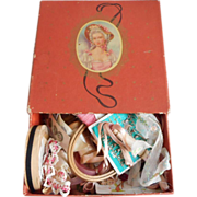 Sewing Items Vintage Pink Paper Box Contents Great Stuff - Red Tag Sale Item