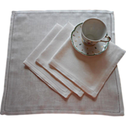 Damask Luncheon Napkins Set 4 Vintage Linen