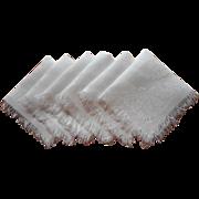 Breakfast Napkins Antique Linen Damask Fringed Set 6 - Red Tag Sale Item