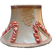 Headboard Lamp Vintage Lace Pink Ribbon Trim  Fabric Hooks Over - Red Tag Sale Item