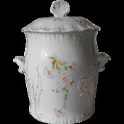 Biscuit Barrel Cracker Jar Hand Painted Antique China Pink White