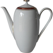 Demitasse Coffee Pot Elegant Vintage Bavaria Winterling White Gold Wine - Red Tag Sale Item