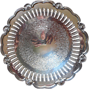 Silver Pierced Rim Footed Candy Dish Bowl Vintage Ornate Reticulated