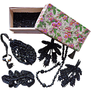 Black Bead Trim Antique Loose Beads Paper Candy Box - Red Tag Sale Item
