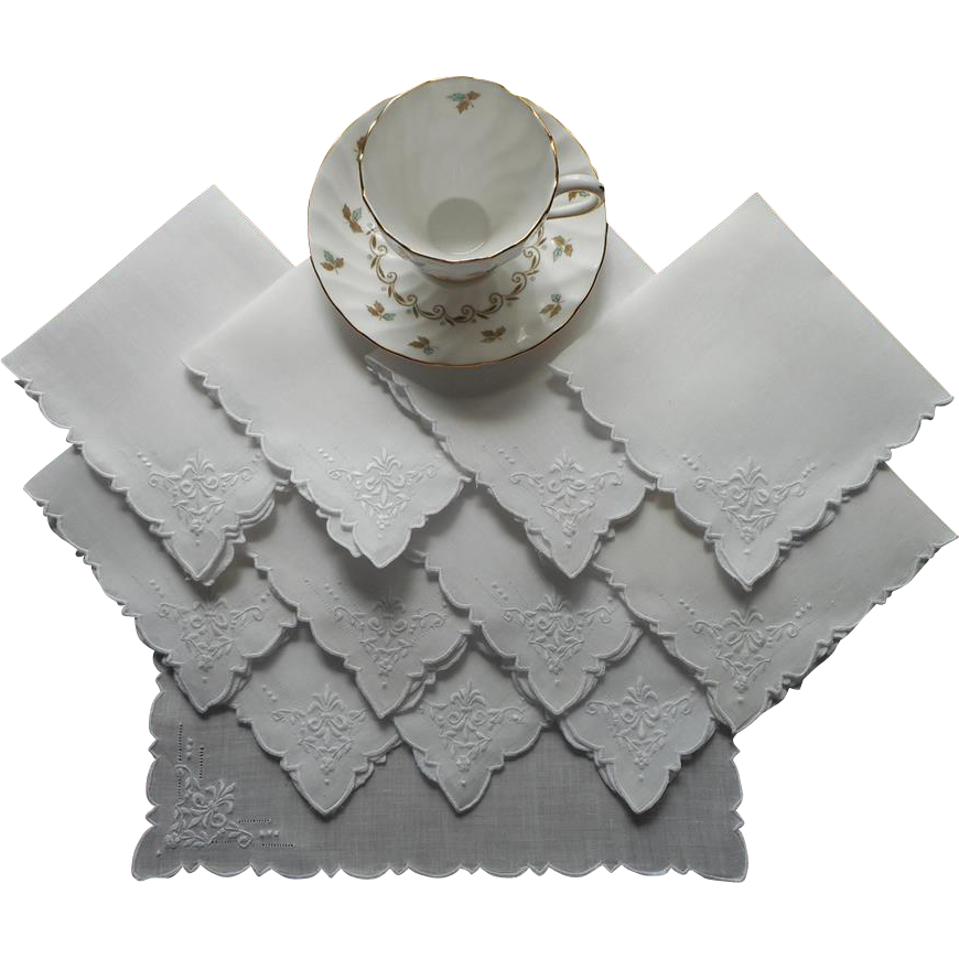 Tea napkins vintage 1920s set 12 linen cutwork hand for Glass cut work designs