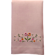 Guest Towel Pink Linen Vintage Petit Point Embroidery Tulips