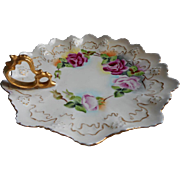 Hand Painted Roses China Nappy Dish Antique Austria Moritz Zdekauer