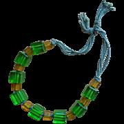 Prystal Bakelite Green Yellow Necklace Vintage Bead Beads