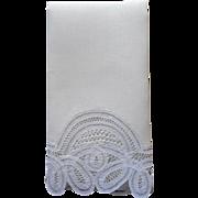 Tape Lace Linen Guest Towel Vintage Unused Ivory White