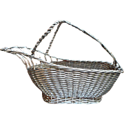 French Wirework Basket Wine Breather Vintage Silver
