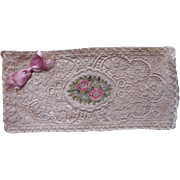 1920s Hankie Case Pink Satin Roses Colored Lace Ribbon