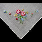Hankie Hand Embroidered Bouquet Vintage Linen Unused