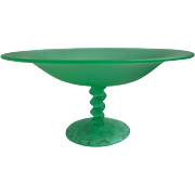 1920s Satin Glass Compote Tiffin Twist Vintage Art Deco Green Large - Red Tag Sale Item
