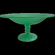 1920s Satin Glass Compote Tiffin Twist Vintage Art Deco Green Large
