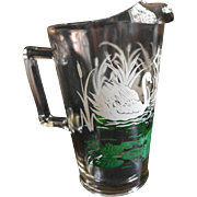 Swans Print Pitcher Vintage Glass 40s 50s Green White Kitchen Mid Century