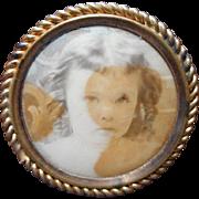Mourning Photo Button Badge Pinback Antique Child Patent 1908