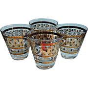 Fred Press Shot Glasses Mid Century Vintage Black Gold MCM