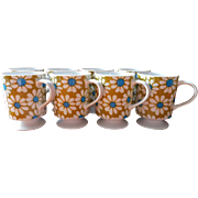 Retro Daisy Mugs Vintage circa 1970 Set 8 Avocado Blue White