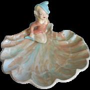 Pixie Girl Pottery Dish Vintage Sassy Coral Aqua Blue