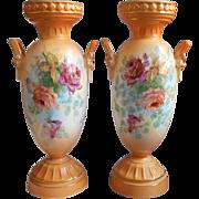 Pair Vases Roses Vintage China Czech Czechoslovakia TLC