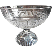 EAPG Greek Key Compote Pedestal Bowl Antique Pressed Glass