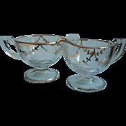 1920s Silver Overlay Glass Creamer Sugar Bowl Vintage TLC