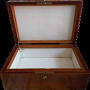 Humidor Box Antique Wood Milk Glass Lined  Cigar Mahogany