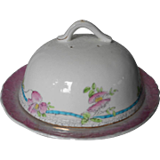 Muffin Dish Dome Antique China Pink Turquoise White Ribbons Flowers