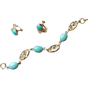 Gold Filled Turquoise Vintage Van Dell Bracelet Earrings Set