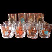 MCM Barware Glasses Set Crests Gold Color Highballs Old Fashioned - Red Tag Sale Item