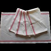 5 Towels Red Stripes Vintage Unused Kitchen Heavy Linen Blend