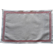 Redwork Tray Cloth Antique Linen Featherstitching Embroidery