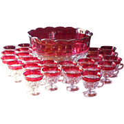 Cranberry Punch Bowl Set 23 Cups Vintage Glass Thumbprint Indiana