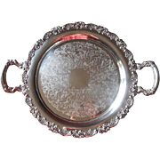 Silver Tray Roses Vintage Round Serving Tea Set Handles Oneida