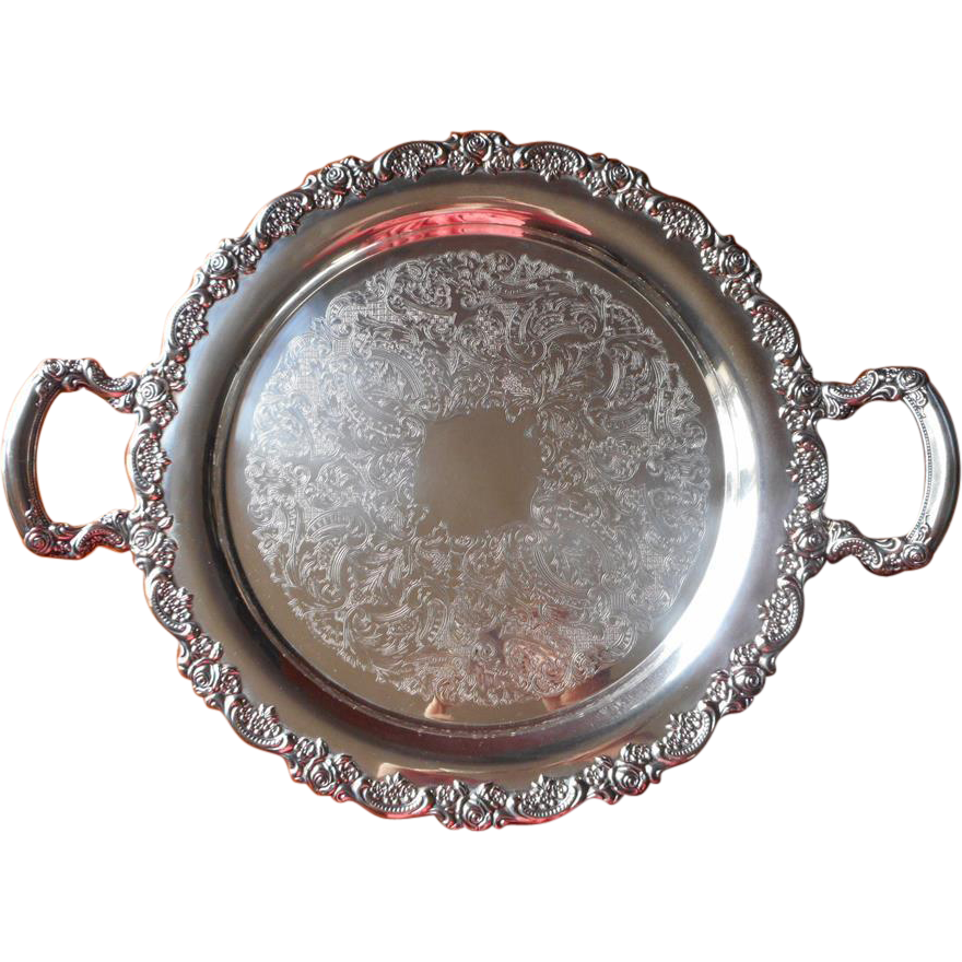 Silver Tray Roses Vintage Round Serving Tea Set Handles Oneida Mercy Maude Ruby Lane