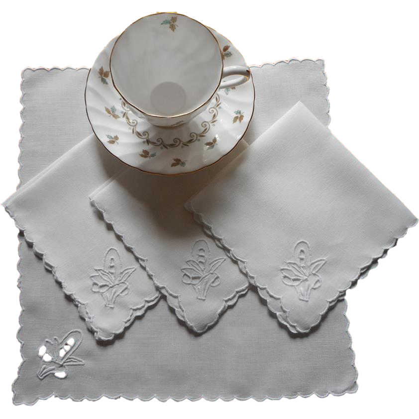 Tea napkins vintage 1920s cutwork baskets linen hand for Glass cut work designs