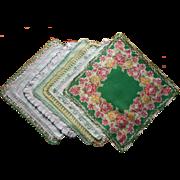 Hankies 6 Vintage All w Green Crocheted Lace Edging Hankie