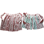 Pink Green Aprons Vintage Matching Unused Apron Striped